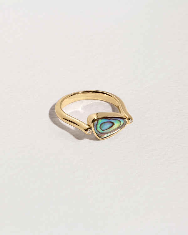 rotating pilar ring gold abalone