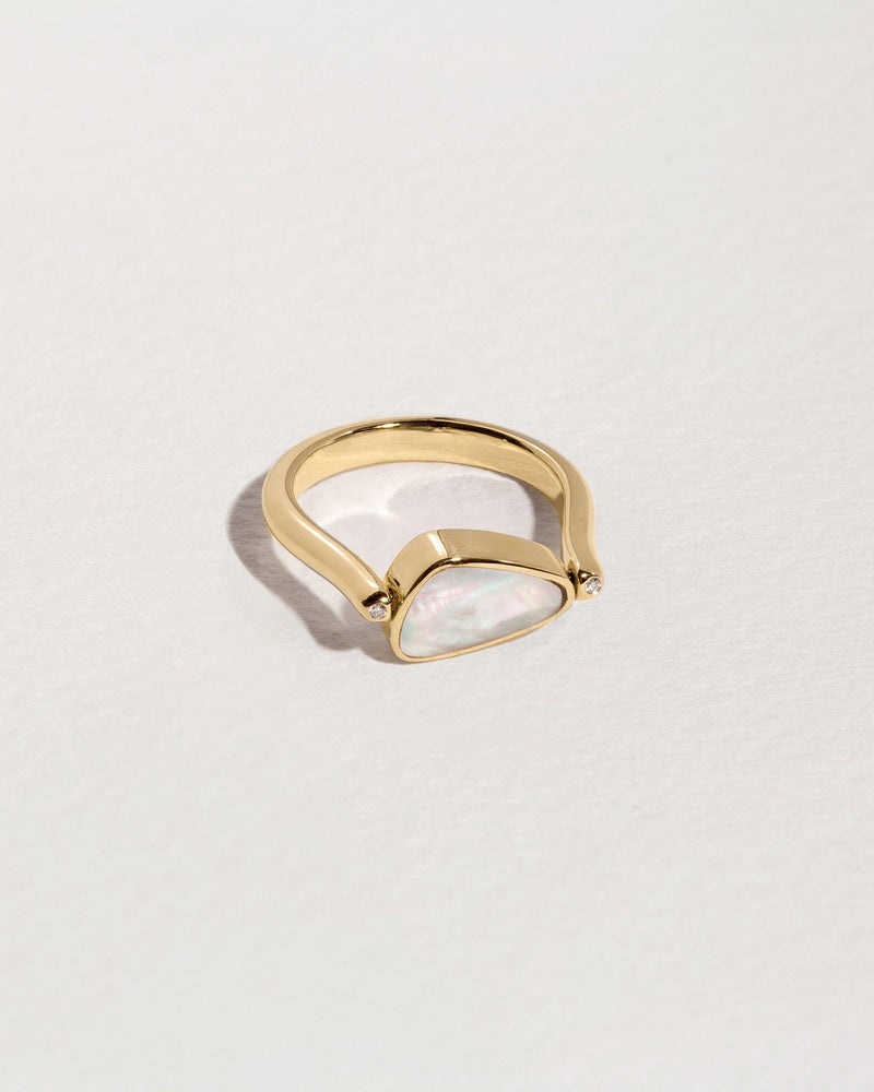 rotating pilar ring gold mother of pearl