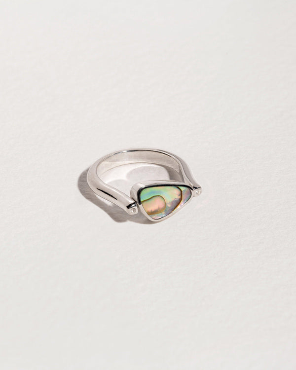 rotating pilar ring with sterling silver, abalone, lapis and white topaz