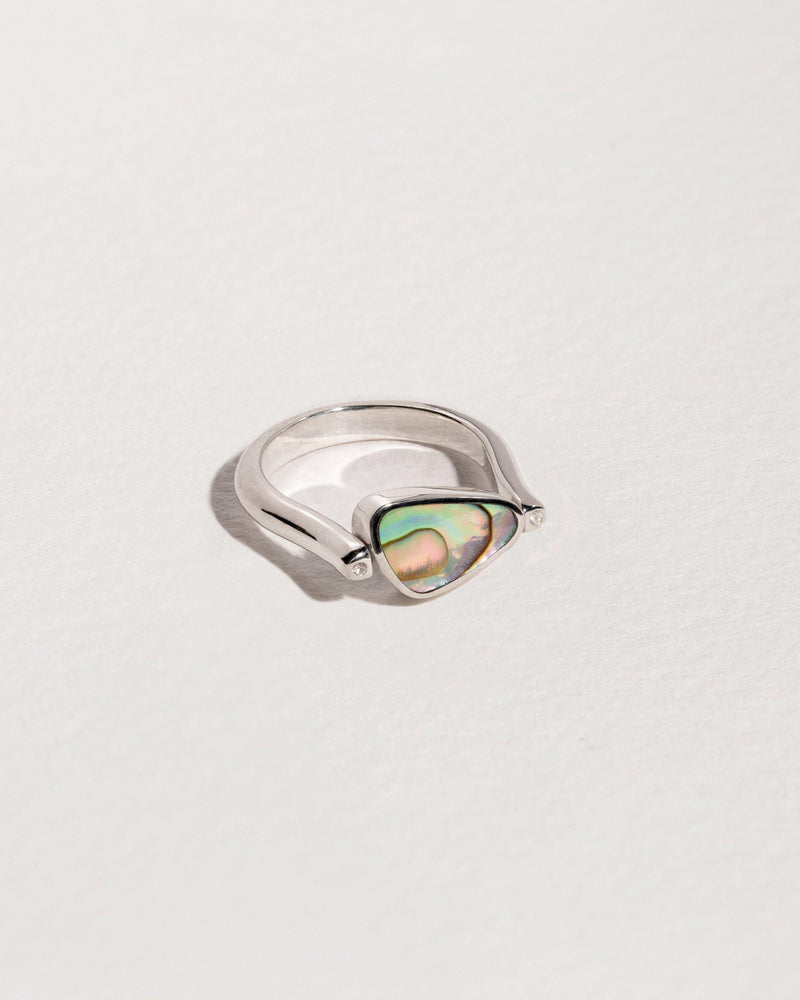 rotating pilar ring with sterling silver and abalone