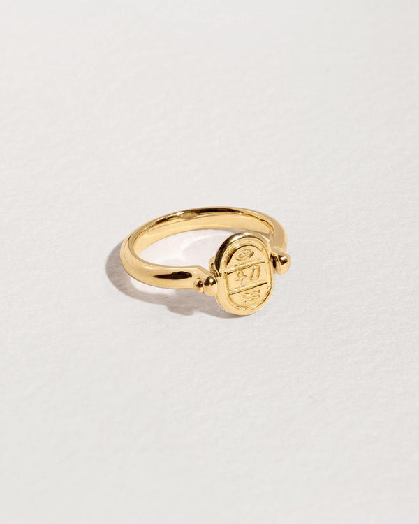 rotating gold scarab ring