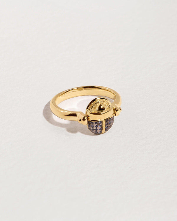 sapphire scarab gold ring