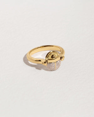 diamond scarab gold ring