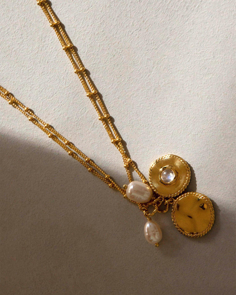 coin necklace with pearl
