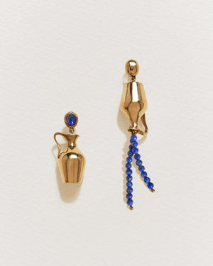 vessel earrings with lapis and 14k yellow gold plate