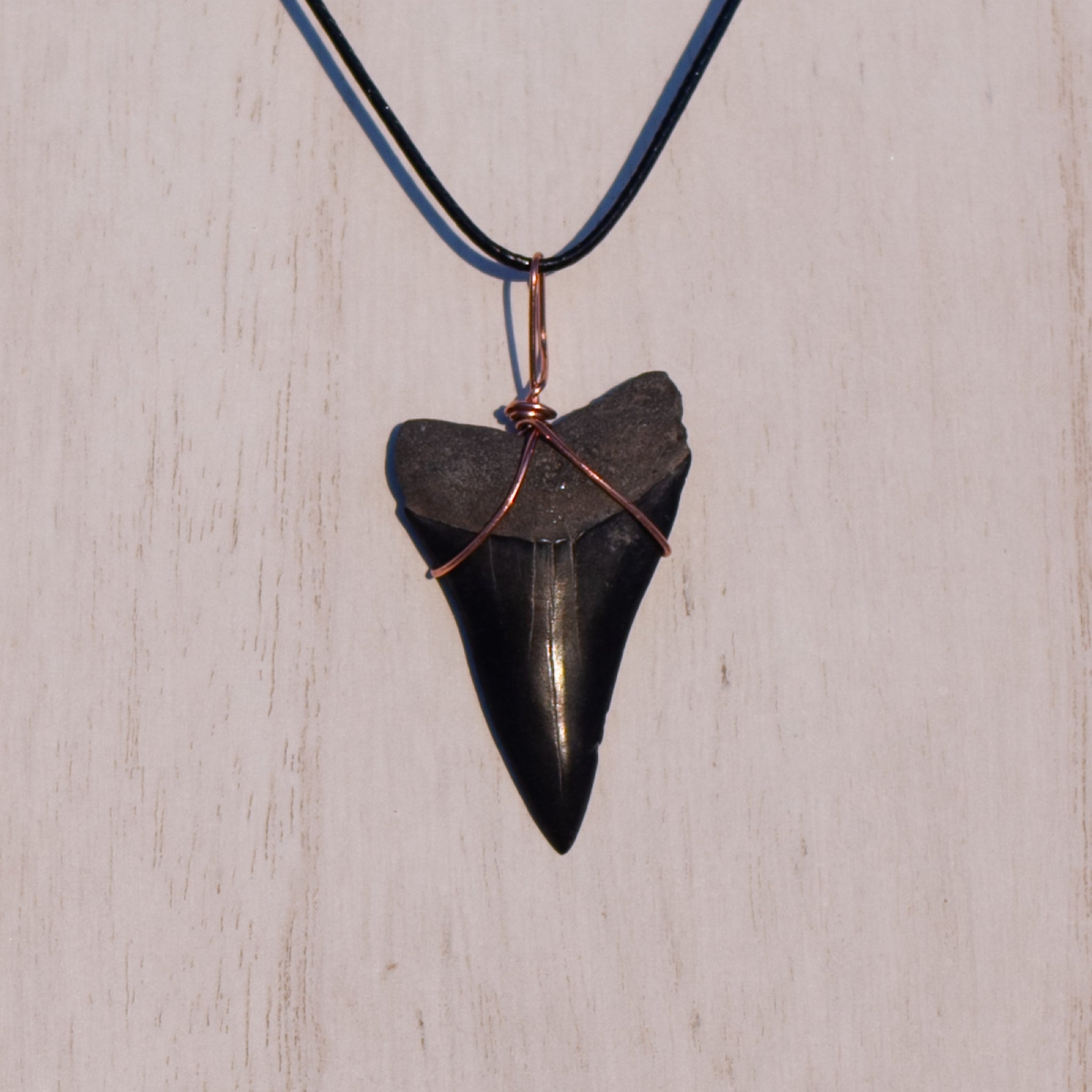 Black Mako Necklace with Copper Wrap