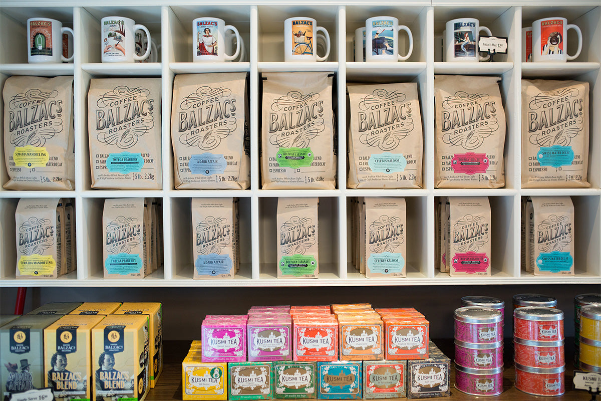 Balzacs Coffe Niagara-On-The-Lake Shelves full of coffee bags