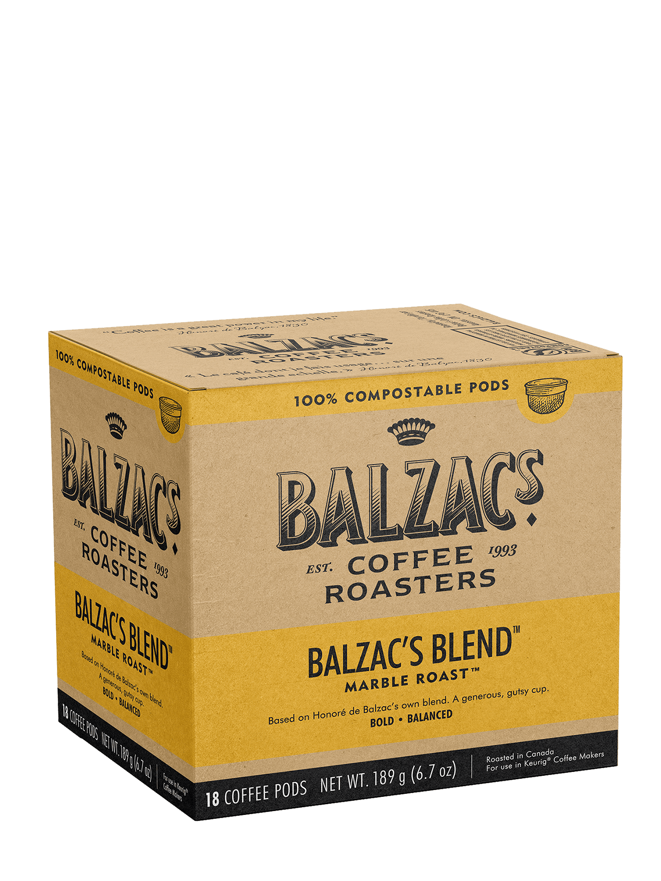 Balzac's Blend - 18 100% Compostable Keurig® Pods