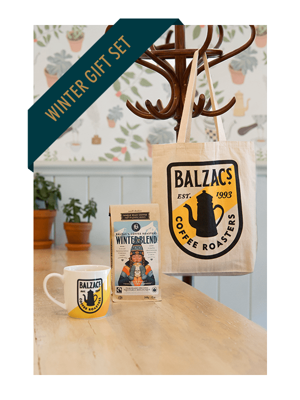 Balzac's Coffee Winter Gift Set Winter Blend Retro Mug Retro Tote Bag