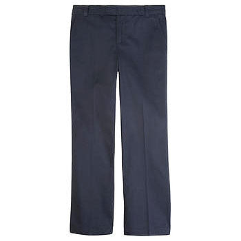 French Toast Girls' Adjustable Waist Flat Front Pant (Navy)