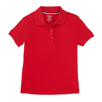 21b5df2e French Toast Girls' Short Sleeve Interlock Knit Polo with Picot Collar