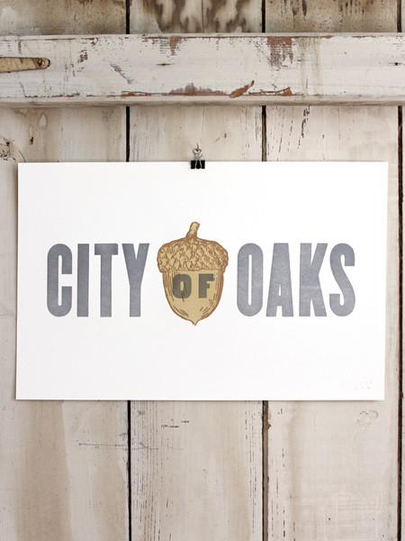 City of Oaks Raleigh North Carolina Letterpress Print Old Try