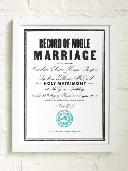The Marrying Type | Marriage Certificate
