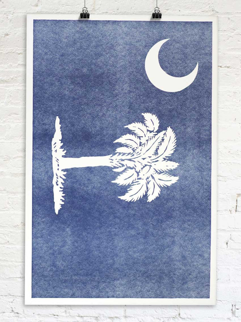 South Carolina Flag Palmetto State Letterpress Print Old Try