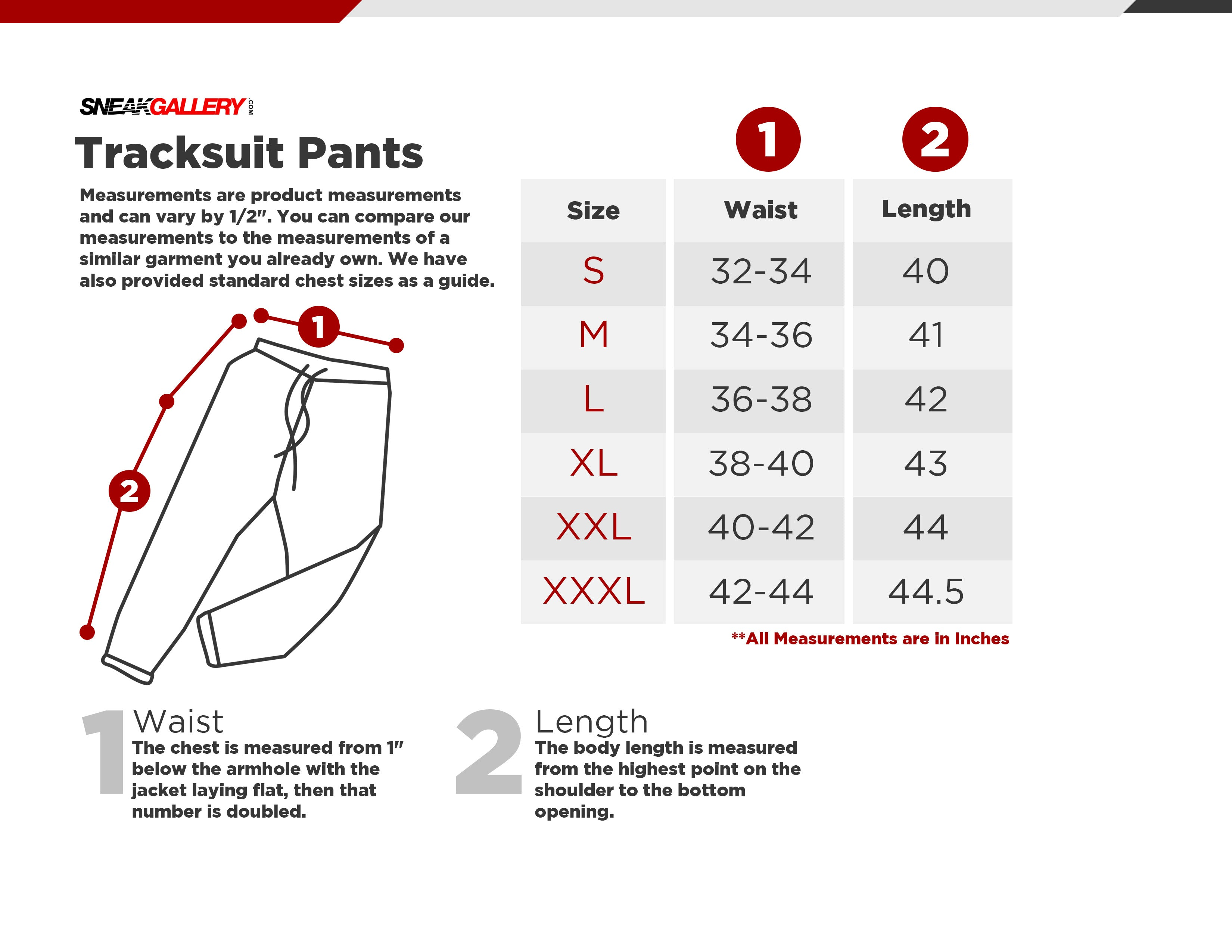 SneakGallery Track Pants Size Chart