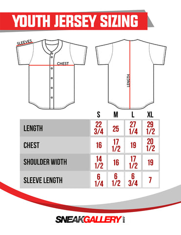 youth large jersey measurements