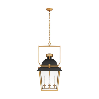 4 Light 19 inch Matte Black and Antique-Burnished Brass Lantern Pendant Ceiling Light, Medium