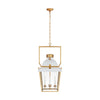 4 Light 19 inch Matte White and Antique-Burnished Brass Lantern Pendant Ceiling Light, Medium