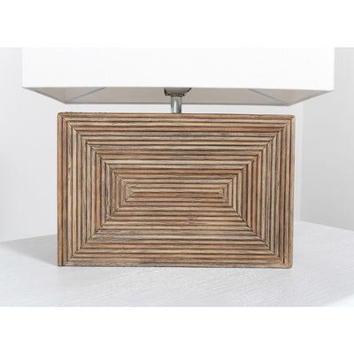 Modern wood and wicker table lamp