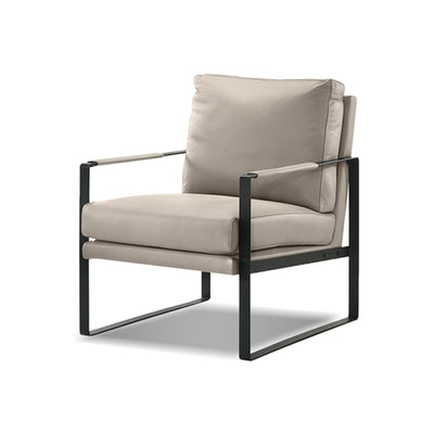Wheat Leather/Black Powder Coated Frame modern lounge chair