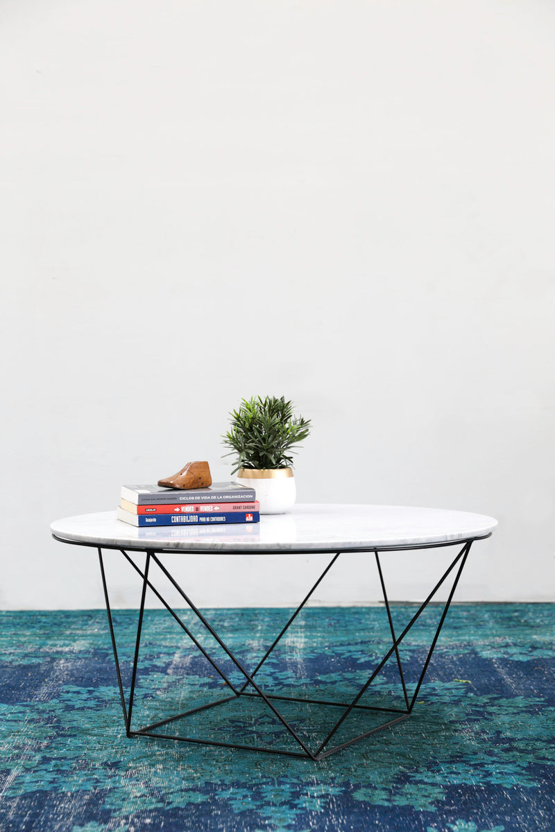 Valencia Round Coffee Table- White Marble / Black Matte