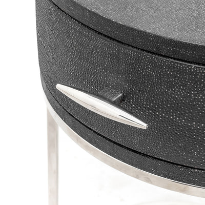Ambiente Shagreen Round Nightstand / Side Table
