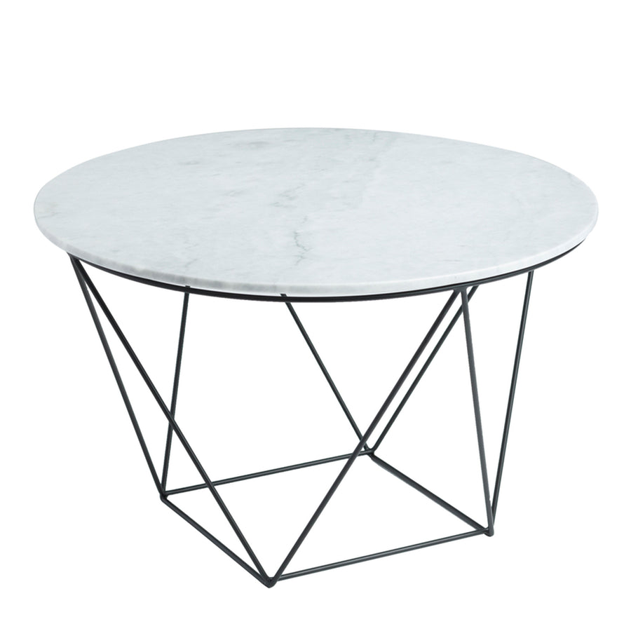 Valencia Round Side Table - White Marble / Black Matte