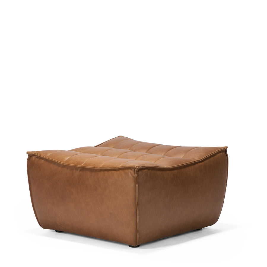 Jacques - Leather Ottoman - Old Saddle  {N701}