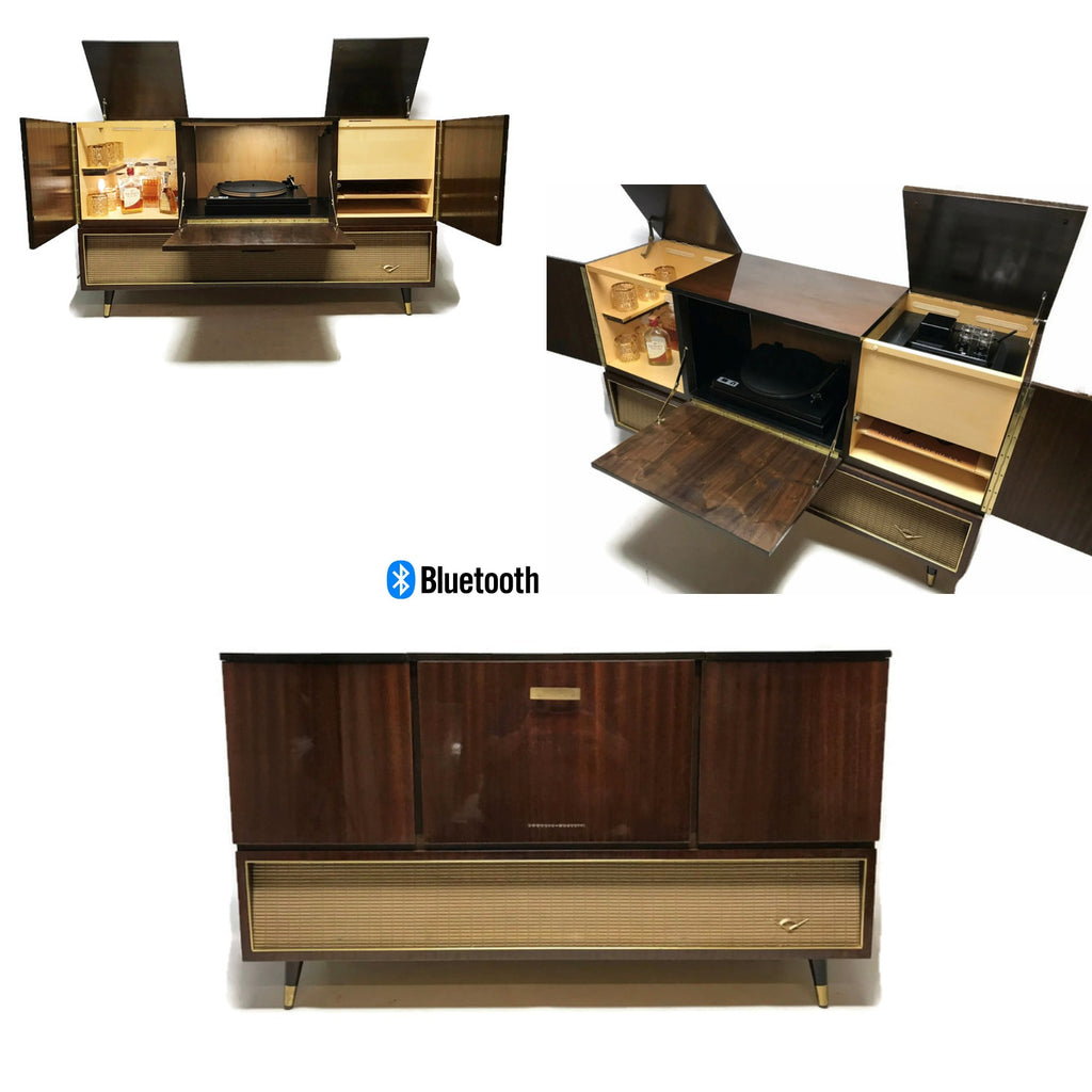 The Vintedge Co™ - TURNTABLE-READY SERIES - GRUNDIG 60s Mid Century Stereo Console Turntable Record Player Cabinet AM FM Bluetooth