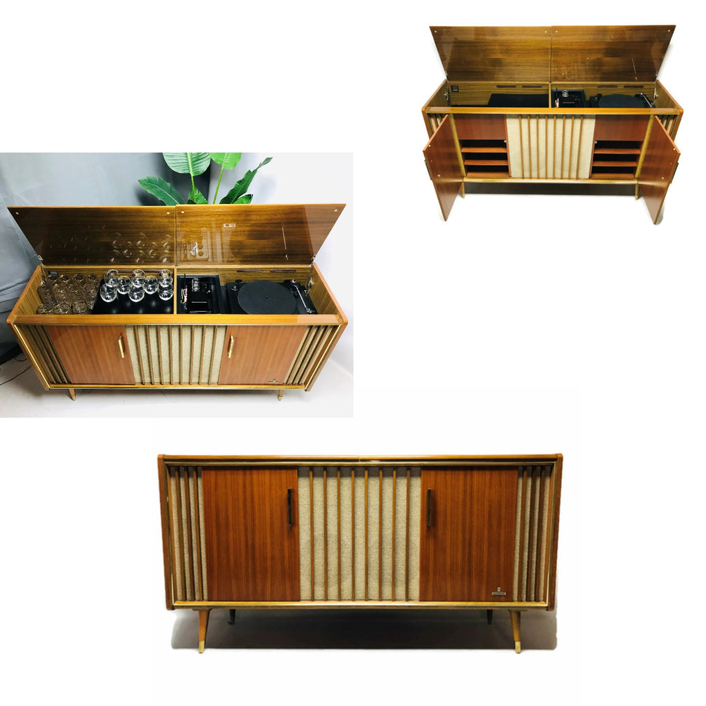 The Vintedge Co™ - TURNTABLE-READY SERIES - GRUNDIG 60s Mid Century Modern Stereo Console DRY Whiskey BAR Turntable Record Player Cabinet