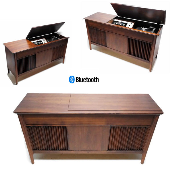 The Vintedge Co™ - PILOT Mid Century DELUXE Stereo Console Record Player Changer AM FM  - Bluetooth