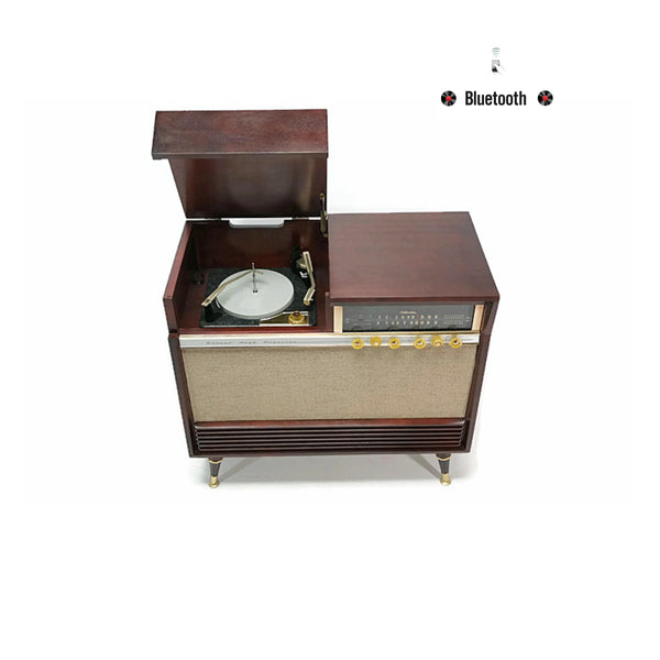 The Vintedge Co™ - SILVERTONE 50s Mid Century Record Player Changer Stereo Console AM FM Bluetooth