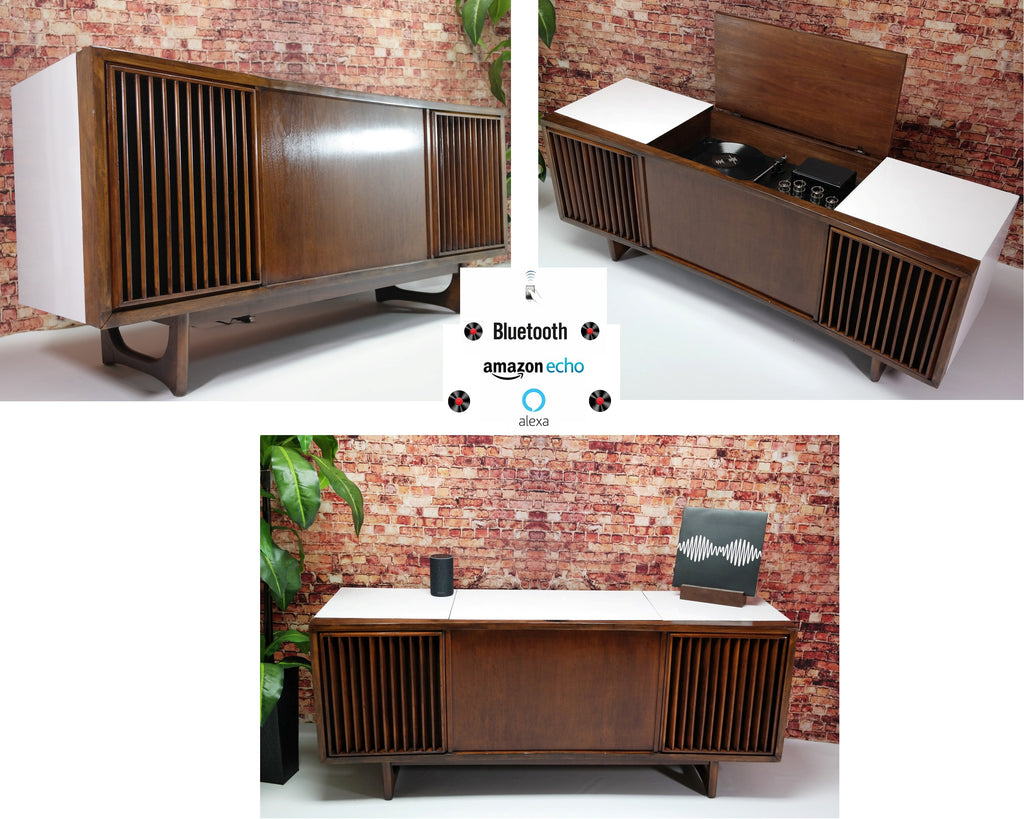 The Vintedge Co™ - TURNTABLE-READY SERIES - RCA Curved Front MID CENTURY MODERN Stereo Console Turntable Record Player
