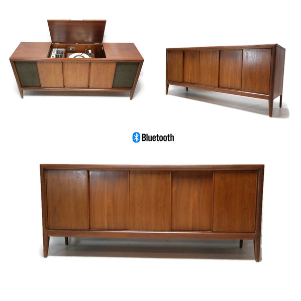The Vintedge Co™ - ADMIRAL Mid Century Vintage Record Player Changer Stereo Console AM FM  - Bluetooth