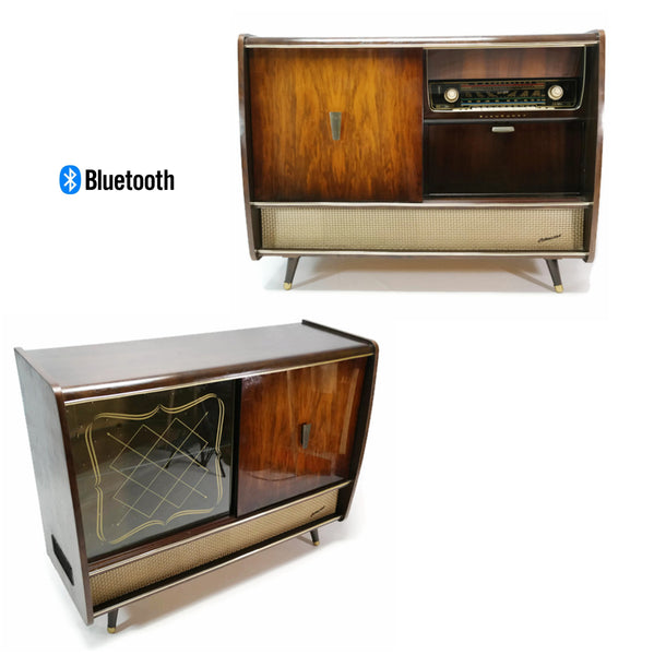 The Vintedge Co™ - BLAUPUNKT ARKANSAS Mid Century Record Player Changer Stereo Console w/Whiskey Bar
