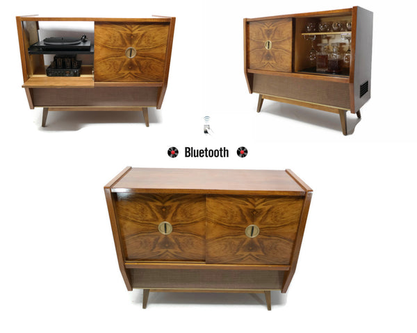 The Vintedge Co™ - TURNTABLE READY SERIES™ - GERMAN Mid Century Stereo Console Turntable Record Player Cabinet w/BUILT-IN BAR