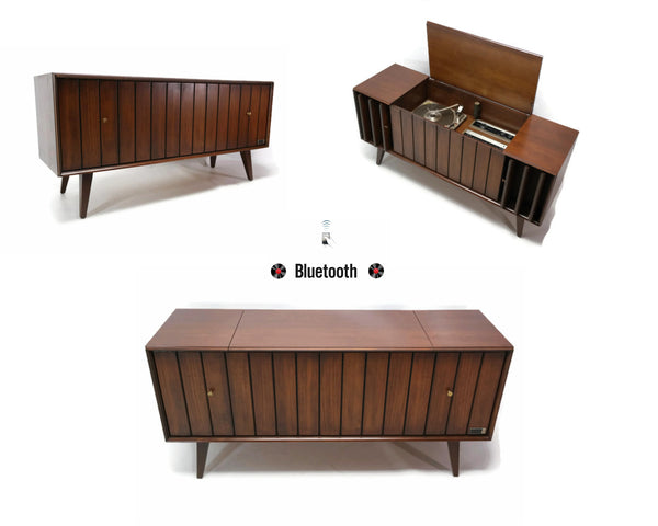 The Vintedge Co™ -  ZENITH LOUVER DOOR Mid Century Record Player Changer Stereo Console