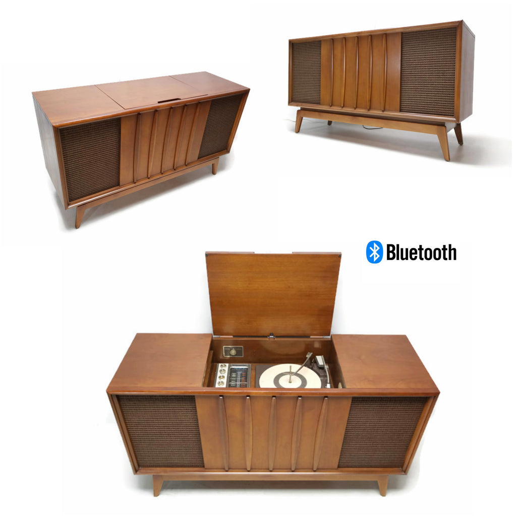 The Vintedge Co™ - ADMIRAL Mid Century Record Player Changer Stereo Console AM FM  - Bluetooth