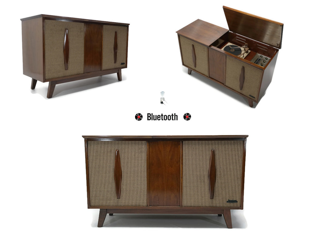 The Vintedge Co™ - EMERSON Mid Century Modern Record Player Changer Stereo Console