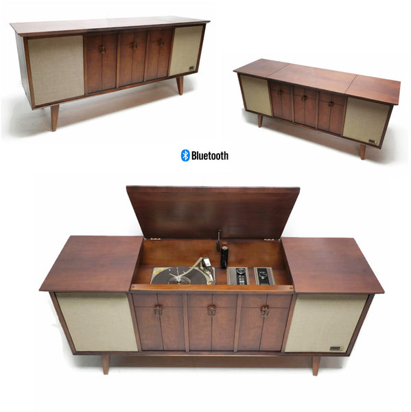 The Vintedge Co™ - ZENITH Mid Century Modern Record Player Changer Stereo Console AM FM  - Bluetooth