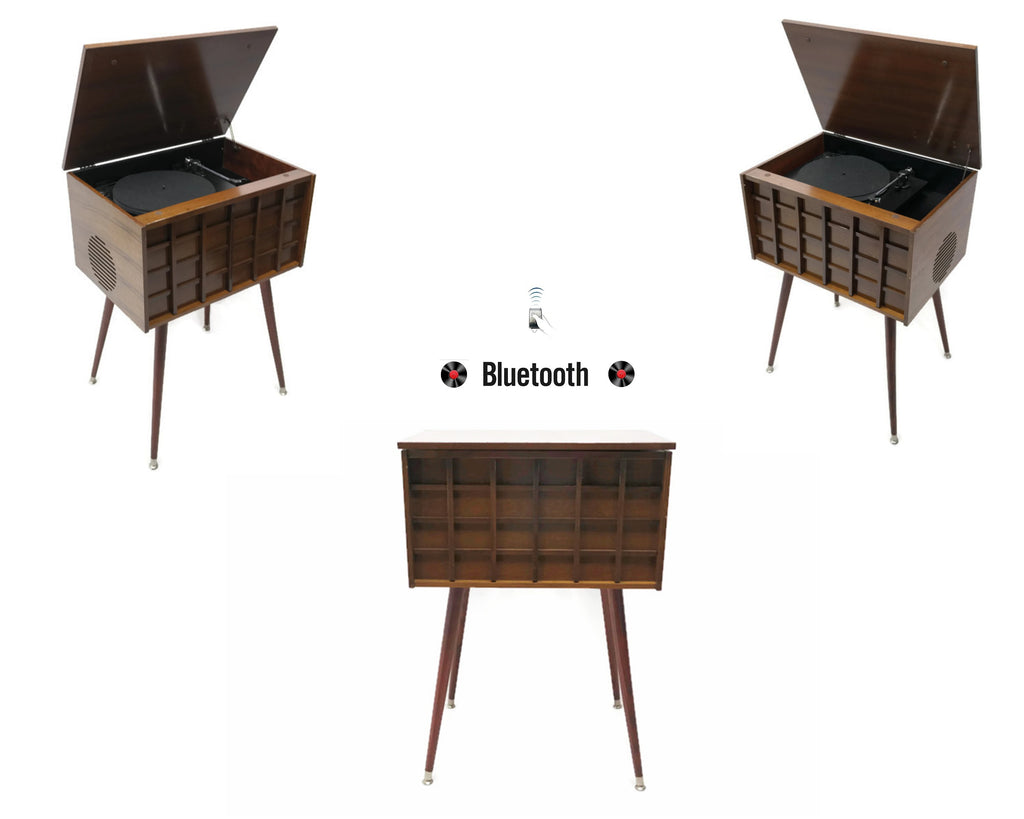 The Vintedge Co™ - THE GRID Vintage Wood Stereo Cabinet Modern Turntable Record Player Stereo