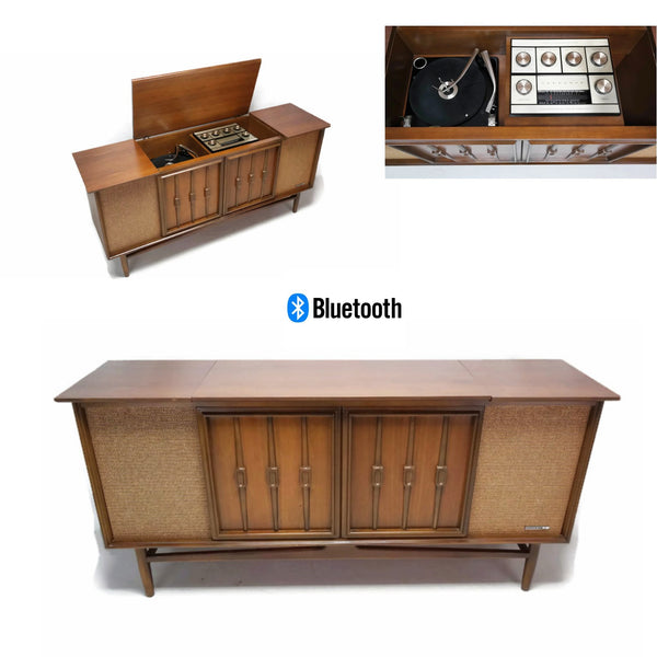 The Vintedge Co™ - SYLVANIA Vintage Mid Century Modern Stereo Console Record Player Changer AM FM  - Bluetooth
