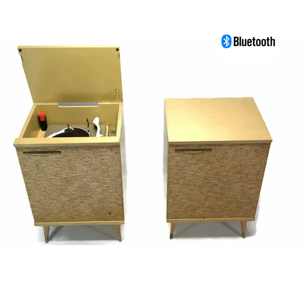 The Vintedge Co™ - RCA ORTHOPHONIC 2-Piece Blonde High Fidelity Record Player Changer + Speaker - Bluetooth