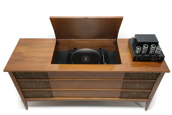 The Vintedge Co™ - VintedgeCo™ - TURNTABLE READY SERIES™ - Mid Century Modern Vintage Stereo Console Wood Cabinet