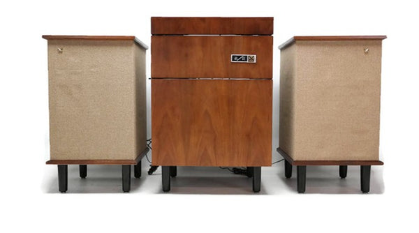 The Vintedge Co™ - VOICE OF MUSIC 3-Piece Mid Century Modern Stereo Console Record Player Changer AM FM Tuner w/Side Speakers - Bluetooth