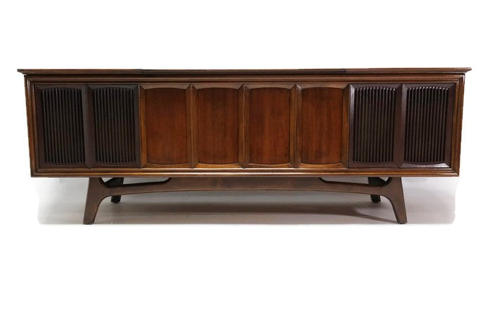 The Vintedge Co™ - TURNTABLE READY SERIES™ - GE Stereo Cabinet Modern Record Player Console