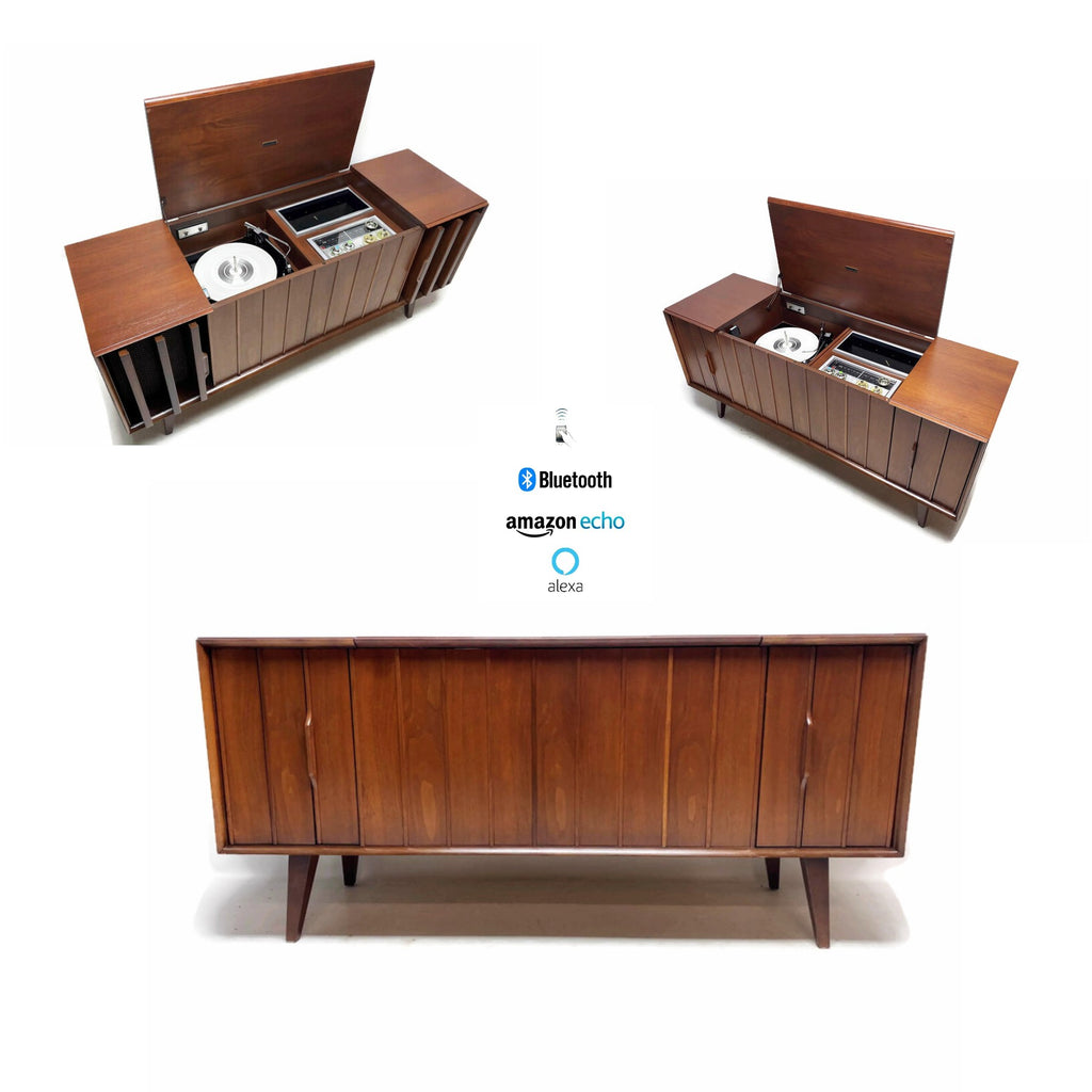 The Vintedge Co™ - ZENITH Vintage 60s LOUVER DOOR Record Player Changer Stereo Console AM FM Bluetooth