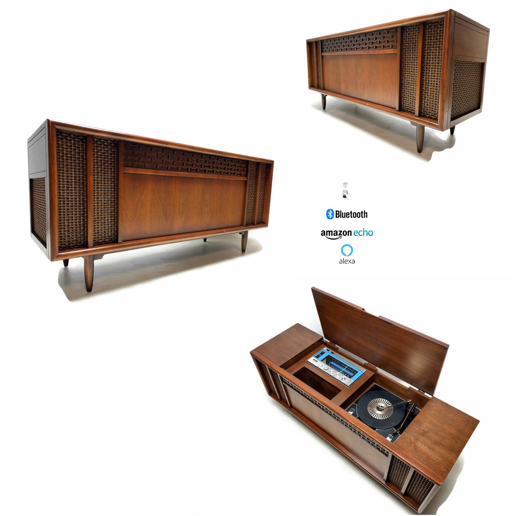 The Vintedge Co™ - AIRLINE 60s Mid Century STEREO CONSOLE Record Player Changer AM FM Bluetooth