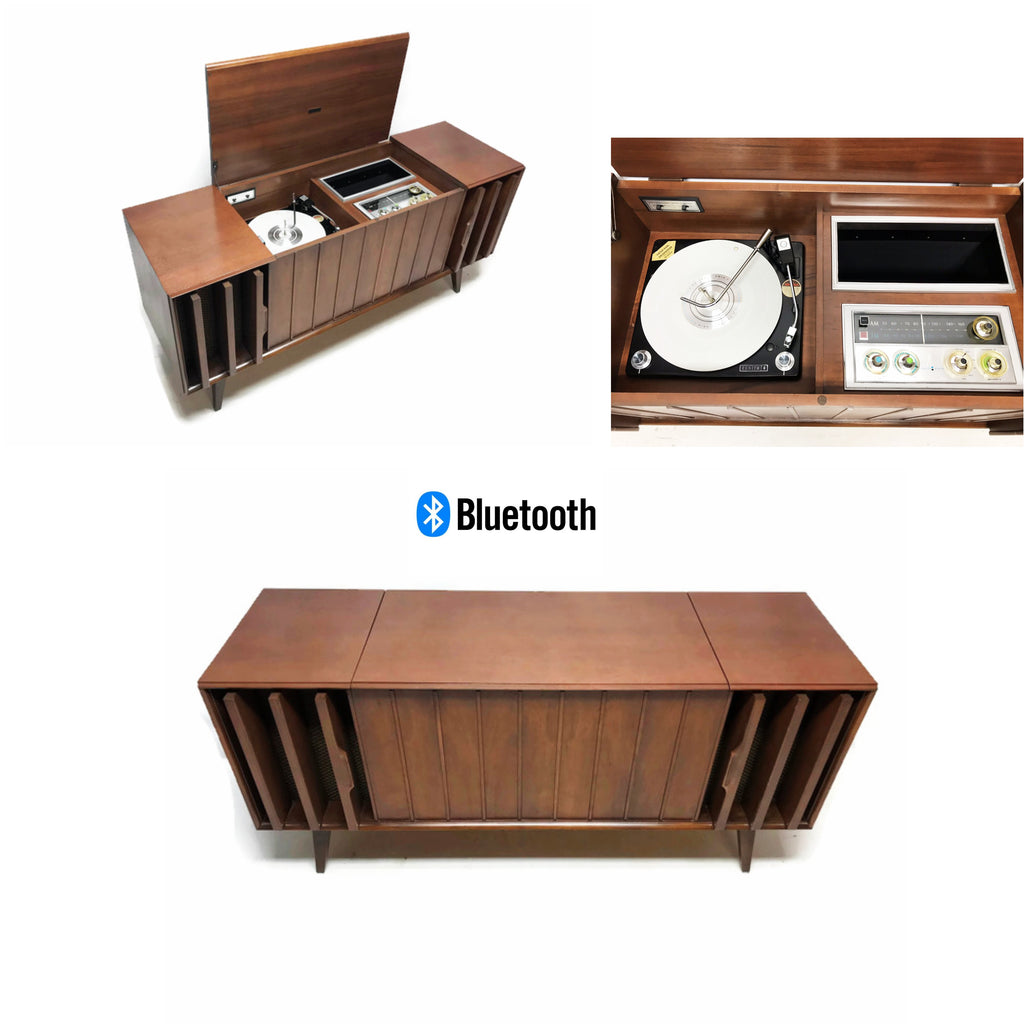 The Vintedge Co™ - ZENITH Louver Door Record Player Changer Stereo Console AM FM Bluetooth