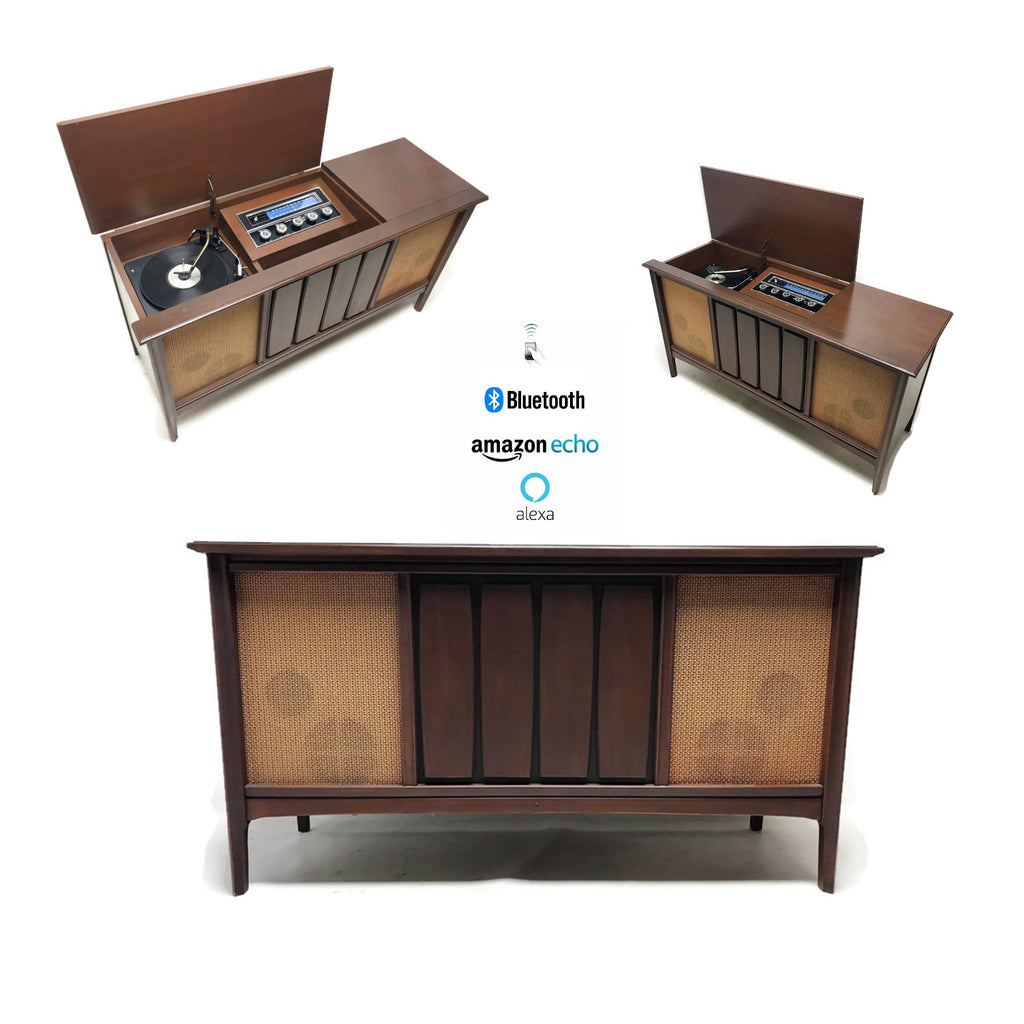 The Vintedge Co™ -  SYLVANIA Mid Century Vintage Record Player Changer Stereo Console - Bluetooth
